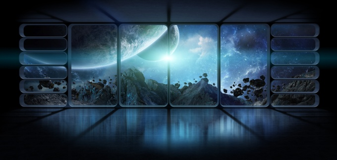 View planets from a huge spaceship window 3D rendering elements
